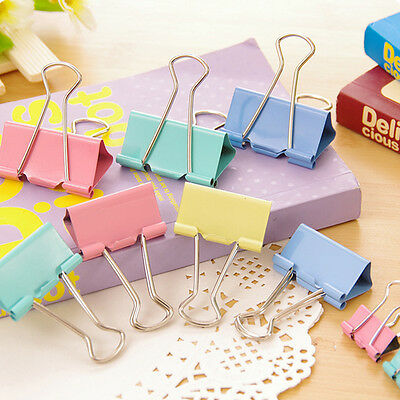 10/60PCS Colorful Metal Binder Clips Paper Clip 15mm Office Supplies at Random