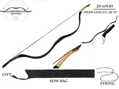 20-60lb New Handmade Archery Hunting Bay Fine Cow Leather Longbow With OX Horn