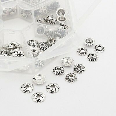 1Box Mixed Alloy Beads Caps Cadmium Free & Lead Free Antique Silver 6~9mm 140pcs