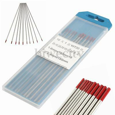 10Pcs Size 1.6mm / 2.4mm x 150mm 2% Thoriated WT20 Red TIG Tungsten Electrode