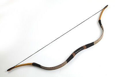Handmade Traditional Brown Snakeskin Archery Hunting Longbow OX Horn 20-80lb