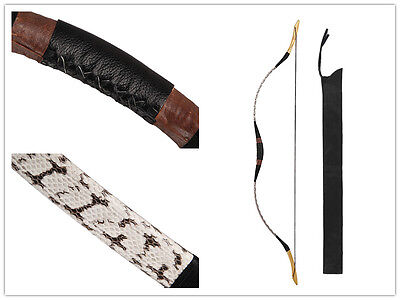 Handmade Traditional White Snakeskin Archery Hunting Recurve Bow Longbow 20-80lb