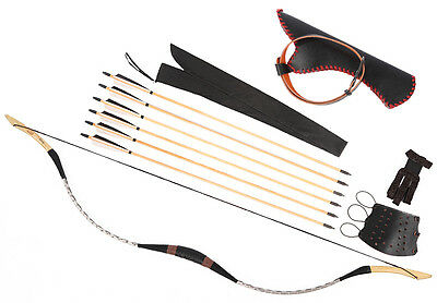 White Snakeskin Archery Hunting Recurve Longbow 20-80lb + 6 Wood Arrows Quiver
