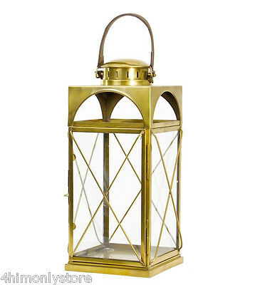 New Large Antique Brass Glass Hurricane Candle Lantern With Leather Handle