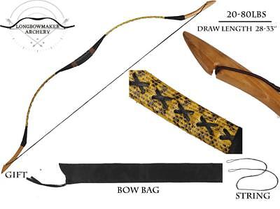 20-80lb Chinese Horsebow Handmade Yellow Snakeskin Archery Hunting Recurve Bow