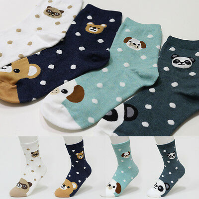 4 Pairs Cute Animal Character Socks Women Boy Girl Big Kid s Casual Ankle Socks