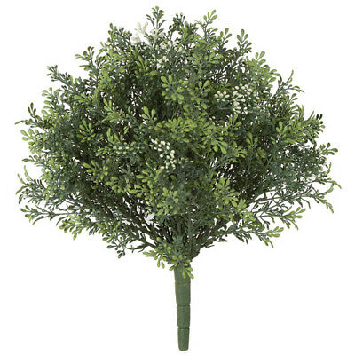 """14.5"""" IFR Artificial Plastic Meliaceae Cluster Flower Bush -Green/White (pack of"""