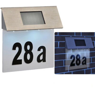 Stainless Steel 4 Led Solar Powered House Door Number Outdoor Wall Paque Light