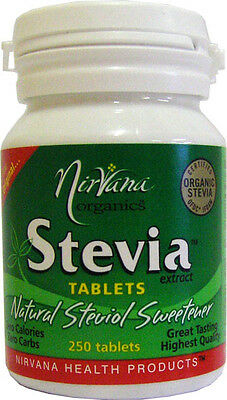 250 Tablets NATURAL STEVIA SWEETENER Zero Calories Zero Carbs NIRVANA ORGANICS