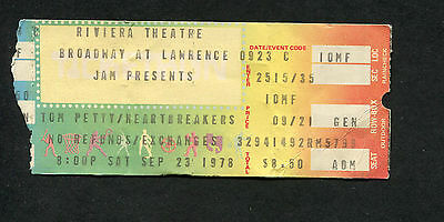 1978 Tom Petty concert ticket stub Riviera Theatre Chicago You're Gonna Get It