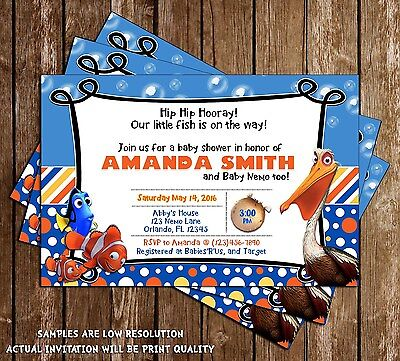 Finding Nemo - Baby Shower - Shower Invitations - 15 Printed W/envelopes