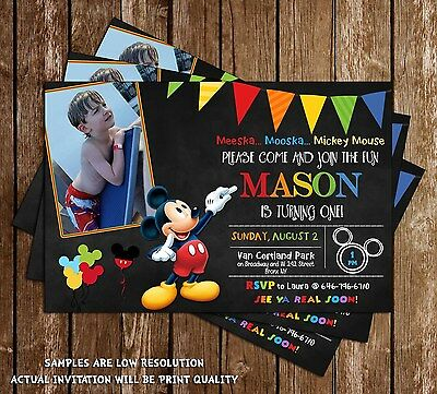 Mickey Mouse - Chalkboard - Birthday Party Invitation - 15 Printed W/envelopes