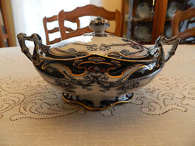 Flow Blue Royal Staffordshire Iris Round Covered Tureen/ Vegetable Dish #1
