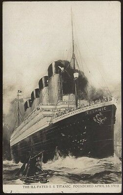 The Ill-Fated S.S. TITANIC, rare original vintage postcard, postally unused