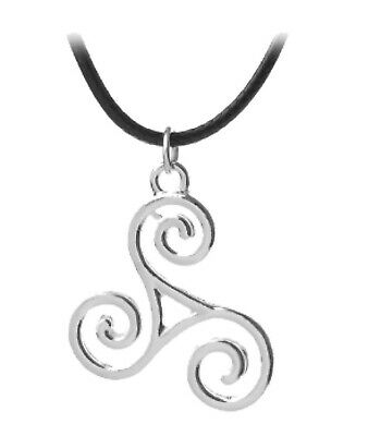 Triskelion Triskele Pendant Pagan Wiccan Celtic Symbol Cord Necklace Teen Wolf