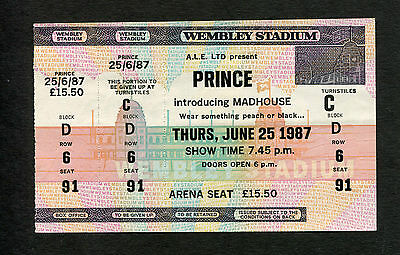 Original 1986 Prince unused full concert ticket Wembley London Sign Of The Times