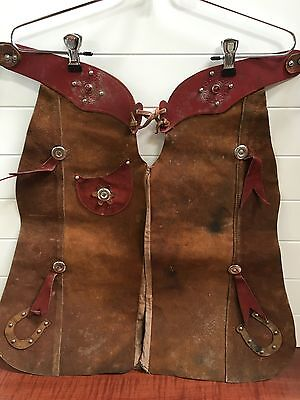 Vintage Antique Cowboy Western Child Chaps Hand Tooled Leather 1950's Red Stones