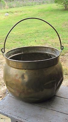 Large Vintage Turn Of Century Brass Planter Pot Primitive Home & Garden Kettle