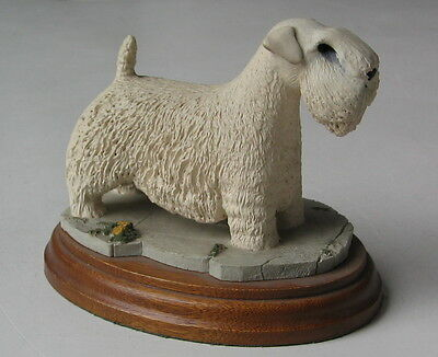 Sealham Terrier Standing Figurine On A Wood Base  England