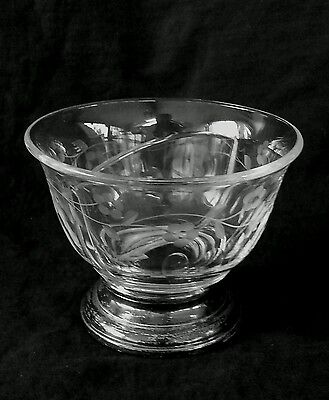 Vintage cut glass dish on sterling silver base, 4 inches tall