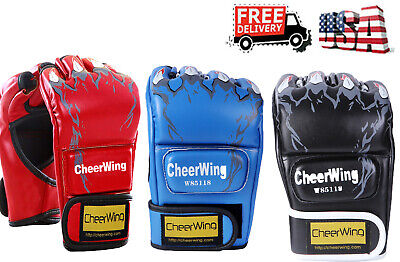 Boxing Training Gloves MMA UFC Muay Thai Fight Punch Sparring Kick Half Gloves