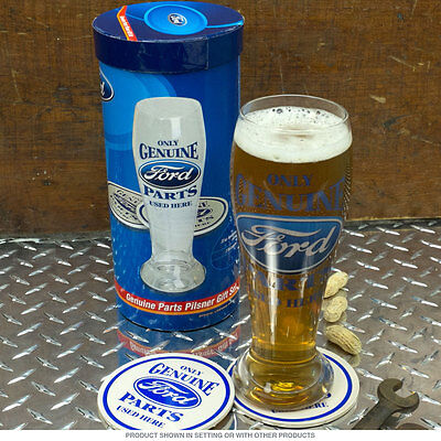 Ford Only Genuine Parts Used Here Pilsner Glass Gift Set  - Coasters - Licensed