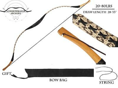 20-80lb Handmade Chinese Archery Hunting White Snakeskin Recurve Bow Longbow