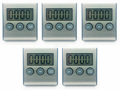 5x Stainless Steel Kitchen Timer 99min with Magnet Stand High Quality Modern lot