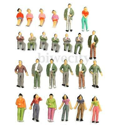 25pcs 1:43 Scale Model Seated Sitting People Railway Trains Painted Figures O