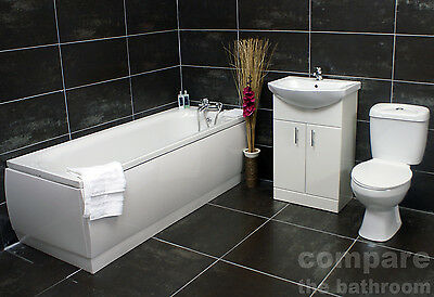 1500 / 1600 / 1700mm Bath Suite with Vanity Unit and Toilet with Taps