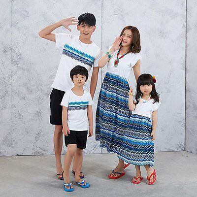 Family Outfits Clothing Father Son Casual T-Shirt Matching Mother Daughter Dress
