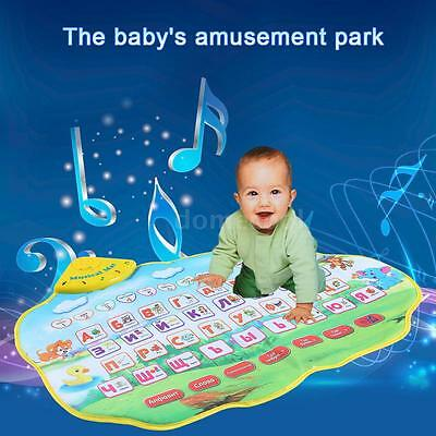 Russian Alphabet Play Mat Musical Learning Mat Flash Music Carpet for Baby I3E0