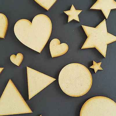 Wooden MDF Assorted Sample Packs Hearts Stars Triangles and Circles For Deco