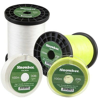 Snowbee Braided Dacron Fly Line Backing 100m, 200m & 1250m in 20lb & 30lb Spools