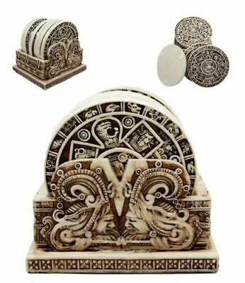 Aztec Gods Warrior Rank Symbols Set of 6 Beverage Coasters With Holder Statue