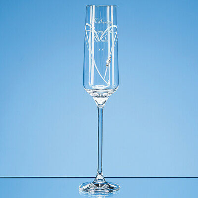 Personalised Diamante Champagne Flute with Heart + Gift Box Birthday Wedding