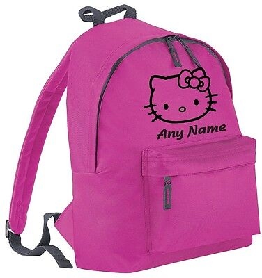 Personalised Hello Kitty Style Backpack/School/PE Bag. Choice Of Colours.