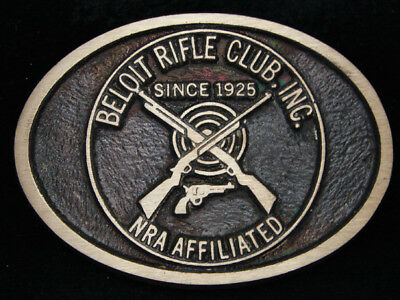 PD15151 VINTAGE 1970s *BELOIT RIFLE CLUB INC. NRA AFFILIATED* SOLID BRASS BUCKLE