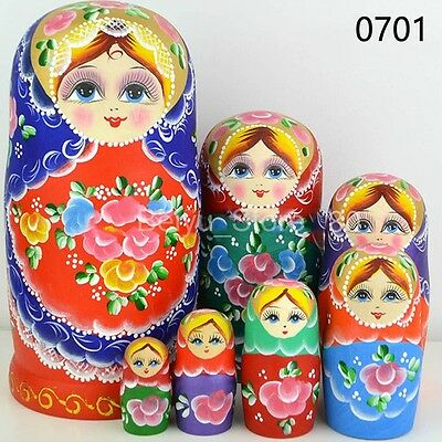 Russian Babushka Matryoshka Wooden Nesting Dolls Hand Painted Gift set Toy 10pcs