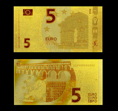 Europe Banknote 5 Euros Gold 24K Design 2014!!