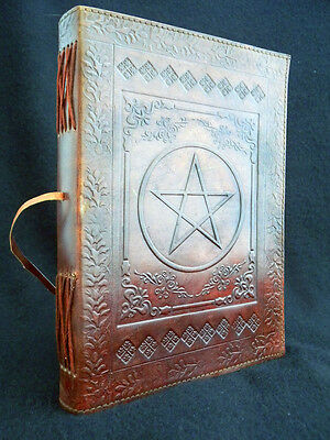 Large PENTACLE Pagan Wicca Handmade Leather Grimoire Book-of-Shadows Journal