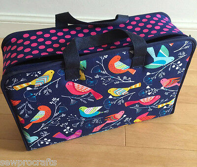 S&W Large Project Case Bag Sewing Craft Sew Tweet Birds Navy Pink Storage Gift