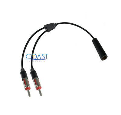 Car Radio Female to 2 Male Universal Antenna Splitter Adapter Cable