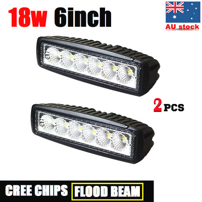 2x 18W 6INCH LED WORK LIGHT OFF ROAD FLOOD DRIVING BAR CAR AUTO MOTORCYCLE LAMP