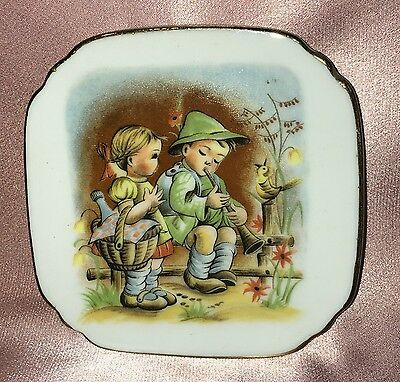 Estate Collectable ~ Small Gold Rim Children Pin Dish Plate Vintage