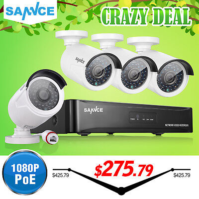 SANNCE 4CH 1080P NVR POE Network Outdoor White Bullet Security IP Camera System