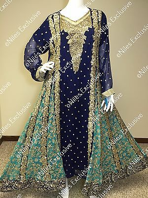Pakistani Indian Designer Outfit Salwar Kameez Heavy Embroidery Party XL