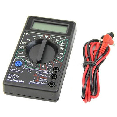 DT830D Digital Multimeter with Buzzer Ohm Voltage Ampere Meter + Test Probe LCD