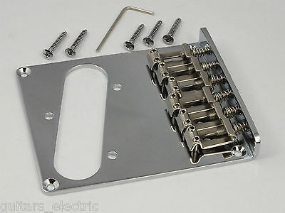 MODERN BRIDGE in CHROME + 6 Bent Steel Saddles for Telecaster Tele guitar
