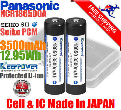 2x KeepPower Panasonic 3.7V Protected NCR 18650 GA Li-Ion rechargeable Battery